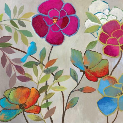 Ella K, Floral Impressions I (Blumen, Blüen, floral, leuchtend, Malerei, Treppenhaus, Wohnzimmer, Wunschgröße, bunt)