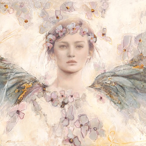 Elvira Amrhein, Air de printemps II (Malerei, Modern, Fantastische Kunst, Mädchen, Portrait, Flügel, Engel, Blumen, Jugend, Frühling, Jugendzimmer, bunt)