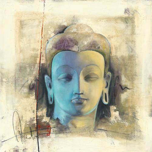 Elvira Amrhein, Lumire bleue (Wunschgröße, Malerei, Modern, Figurativ, Religion, Asien, Portrait, Kopf, Buddha, Meditation, Glaube, Friede, Schlafzimmer, Wohnzimmer, bunt)