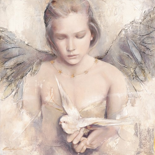 Elvira Amrhein, Rêverie d´ange (Malerei, Modern, Fantastische Kunst, Mädchen, Portrait, Flügel, Engel, Vogel, Sittich, Gefühl, Zartheit, Jugend, Jugendzimmer, bunt)