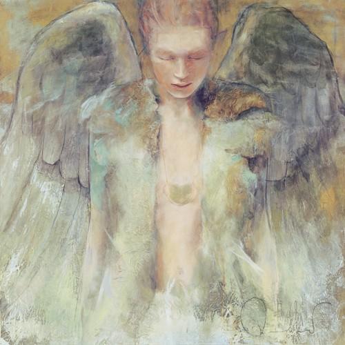 Elvira Amrhein, Schutzengel (Wunschgröße, Malerei, Modern, Fantastische Kunst, Mädchen, Portrait, Schutz, Flügel, Engel, Jugendzimmer, Schlafzimmer, bunt)