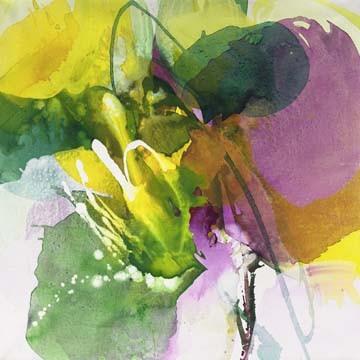 Digitaldruck Papier El Ruttkau, Charming (Abstrakt, Abstrakte Malerei, zeitgenössiche, energetisch, explosiv, floral modern, Büro, Business, Wohnzimmer,  leuchtend, bunt)