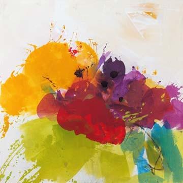 Digitaldruck Papier El Ruttkau, Orange blossom (Abstrakt, Abstrakte Malerei, zeitgenössiche, energetisch, explosiv, floral modern, Büro, Business, Wohnzimmer,  leuchtend, bunt)