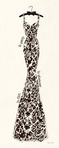 Emily Adams, Couture Noire Original II (Wunschgröße, Modern, Mode, Kleid, Abendkleid, Silhouette, Eleganz, Couture, florales Muster, Bekleidung,  Grafik, Schlafzimmer, Treppenhaus, Bekleidung, beige / schwarz)