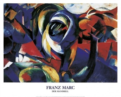 Franz Marc, Der Mandrill, 1913 (Malerei, Expressionismus, Landschaft, Affe, Urwald, dynamisch, Chaos, figurativ, klassische Moderne, Wohnzimmer, Arztpraxis, Treppenhaus, bunt)
