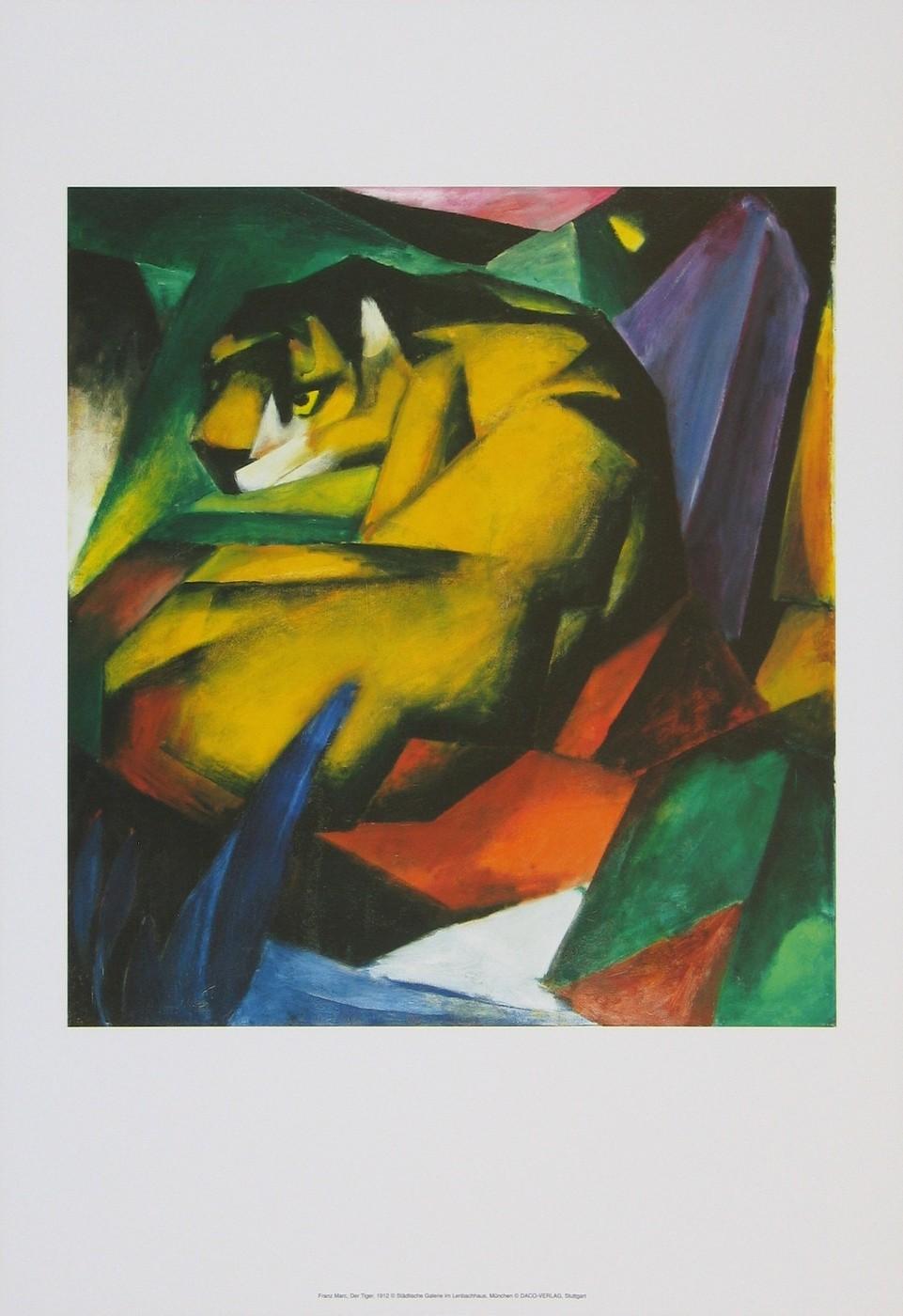 Franz Marc, Der Tiger, 1912 (Malerei, Expressionismus, Urwald, Tiger, Aufmerksamkeit, Versteck,  Tier, Bäume, klassische Moderne, Wohnzimmer, Arztpraxis, Treppenhaus, Schlafzimmer, bunt)
