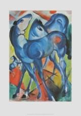 Franz Marc, Die blauen Fohlen, 1913 (Malerei, Expressionismus, Pferde, Fohlen, Freiheit, Landschaft, Hügel, Tier, figurativ, klassische Moderne, Wohnzimmer, Arztpraxis, Treppenhaus, blau, bunt)