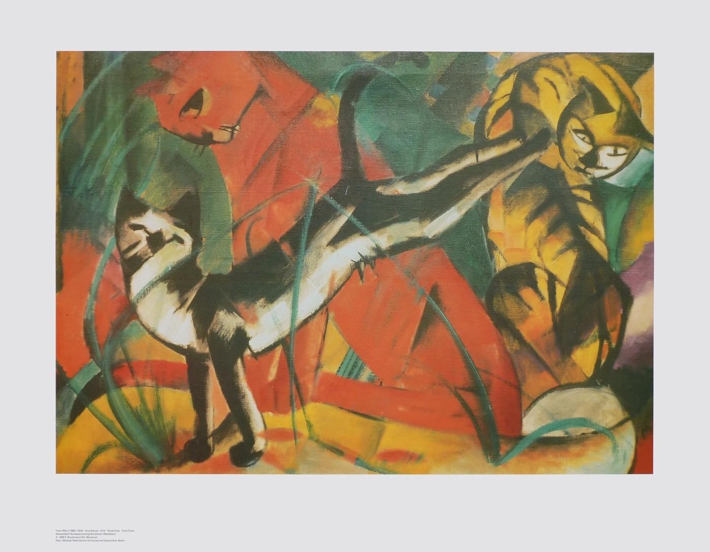 Franz Marc, Drei Katzen (Malerei, Expressionismus, Katzen,  spielende Katzen, Katzenwäsche, klassische Moderne, Wohnzimmer, Schlafzimmer, Arztpraxis Treppenhaus, bunt)