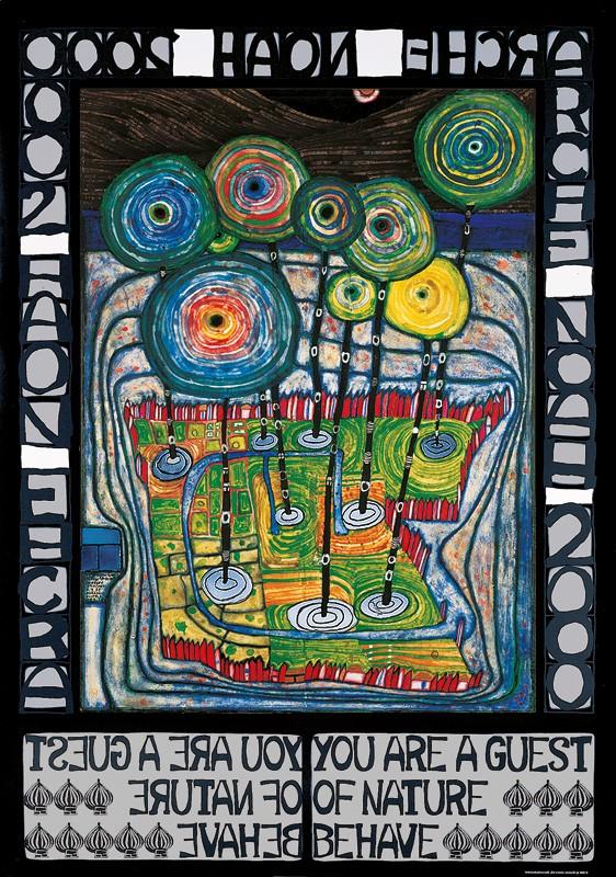 Friedensreich Hundertwasser, ARCHE NOAH (Original Manifesto-Art-Prints) (Malerei, Klassische Moderne, Abstrakt, Bäume, Schiff, geometrische Muster, abstrakte Formen, Wohnzimmer, Arztpraxis, bunt)