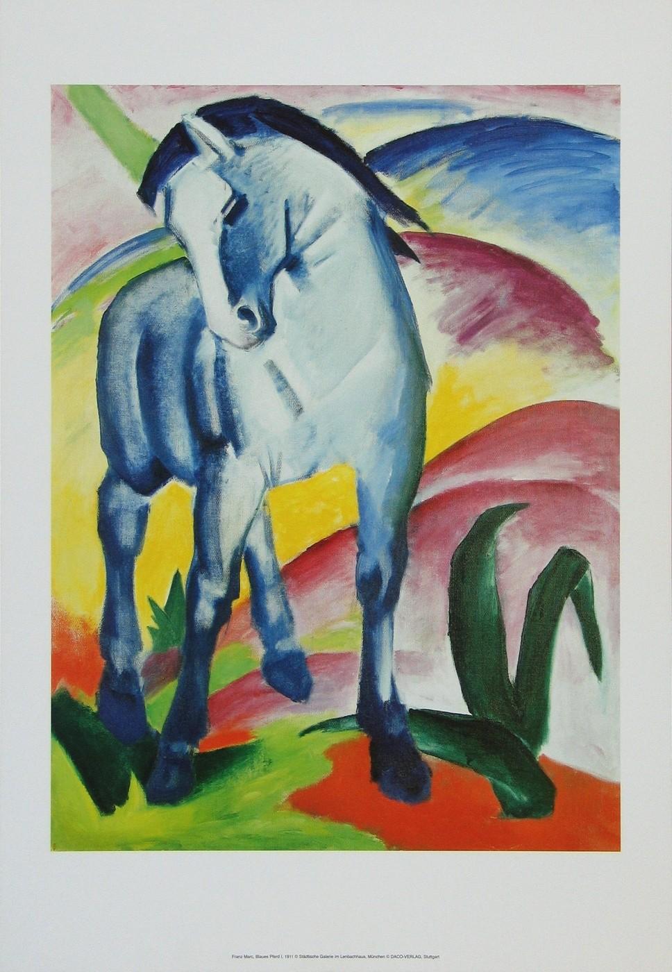 Franz Marc, Blaues Pferd I, 1911 (Wunschgröße, Malerei, Expressionismus, Pferd, Freiheit, Landschaft, Hügel, Tier, figurativ, klassische Moderne, Wohnzimmer, Arztpraxis, Treppenhaus, blau, bunt)