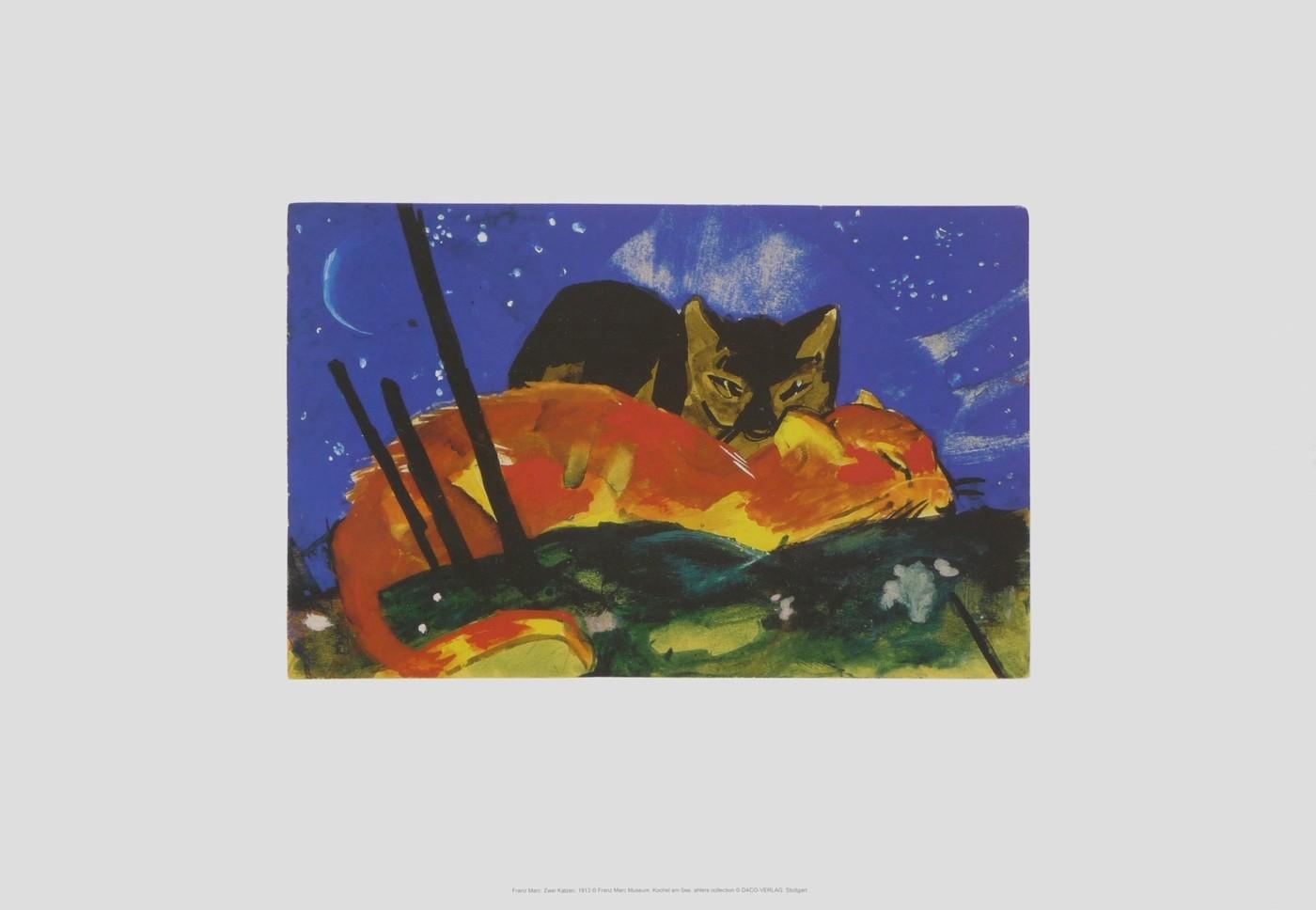 Franz Marc, Zwei Katzen, 1913 (Malerei, Expressionismus, Katzen,  schlafende Katzen,Kuscheln,Nachtszene,  klassische Moderne, Wohnzimmer, Schlafzimmer, Arztpraxis Treppenhaus, bunt)