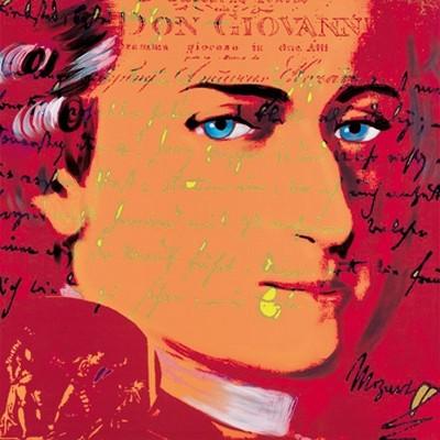 Günter Edlinger, Mozart 5 (Modern, Pop/Op Art, Mozart, Komponist, Portrait, Wunschgröße, Persönlichkeiten,  Wohnzimmer, Jugendzimmer, neonfarben, rot/bunt)