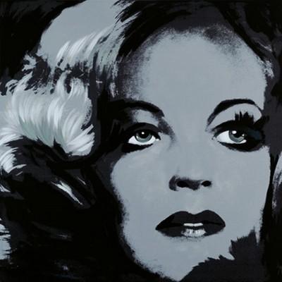 Günter Edlinger, Romy Schneider 1 (Modern, Pop/Op Art, Romy Schneider, Schauspielerin, Portrait, Persönlichkeiten,  Wunschgröße, Wohnzimmer, Jugendzimmer, grau)