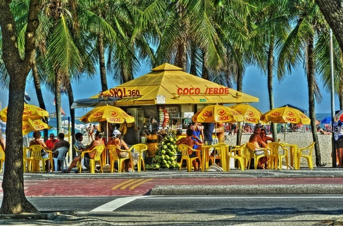 Hady Khandani, HDR - COPACABANA BEACH BAR - RIO DE JANEIRO 3 (HADYPHOTO, Brasilien, Strand, Sandstrand, Strandbar, Urlaub,  Rio de Janeiro,  Fotografie, Wunschgröße, Wohnzimmer, Treppenhaus, bunt)