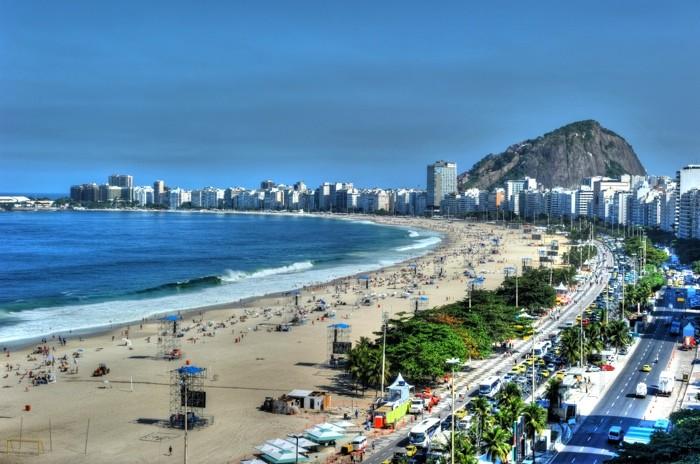 Hady Khandani, HDR - COPACABANA BEACH (HADYPHOTO, Brasilien, Strand, Sandstrand, Urlaub,  Rio de Janeiro, Meer, Meeresbrise, Fotografie, Wunschgröße, Wohnzimmer, Treppenhaus, bunt)