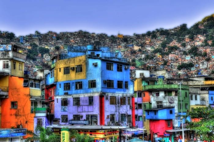 Hady Khandani, HDR - OUTSIDE FAVELA ROCINHA -RIO DE JANEIRO - BRAZIL 4 (HADYPHOTO, Favela, Rio de Janeiro, Brasilien, Armenviertel, Architektur, Beleuchtung,  Fotografie, Wunschgröße, Wohnzimmer, Treppenhaus, bunt)