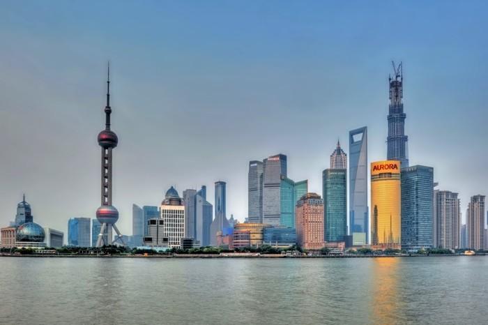 Hady Khandani, HDR - PUDONG VIEW - SHANGHAI - CHINA 1 (HADYPHOTO, Skyline, Wolkenkratzer, Hochhäuser, China, Großstadt, Metropole, Fotografie, Wunschgröße, Wohnzimmer, Treppenhaus, bunt)