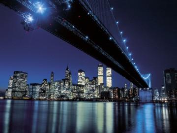 Henri Silberman, Brooklyn Bridge at Night (Fotographie, Photokunst, Fotokunst, Städte&Gebäude, Architektur, Brücke, Büro, Business)