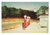 Edward Hopper, Gas, 1940 (Malerei, American Scene, Landschaft, Architektur, Tankstelle, Zapfsäulen, Tankwart, Einsamkeit, Leere, Gebäude und Architektur, Wohnzimmer,  bunt)