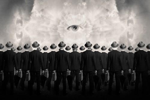 Tommy Ingberg, Drones (Wunschgröße, Grafik, Männer, Männer im Anzug, graue Männer, Uniformiert, Aktentasche, spirituell, Auge, gleichförmig, monoton, Wohnzimmer, schwarz / weiß)