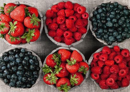 Frank Assaf, Berries I (Wunschgröße, Fotografie, Früchte, Beeren, Himbeeren, Heidelbeeren, Erdbeeren, Frische, Gesundheit, Geschmack, Nahaufnahme, Küche, Eszimmer, Gastronomie, Bistro, bunt)