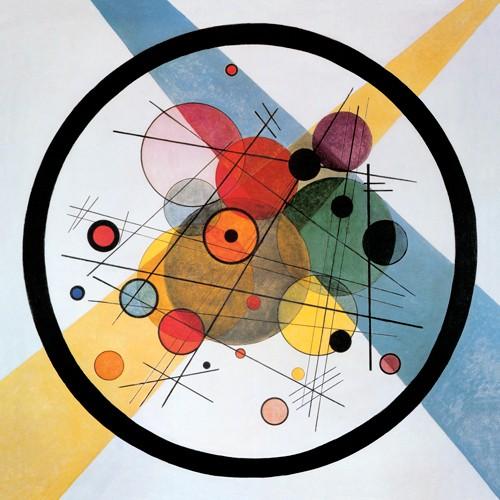 Wassily Kandinsky, Kreise im Kreis (Wunschgröße, Klassische Moderne, Malerei, abstrakte Kunst, geometrische Formen, abstrakte Muster, Linien, Kreise, Punkte, Striche, Wohnzimmer, Büro, Arztpraxis, bunt)