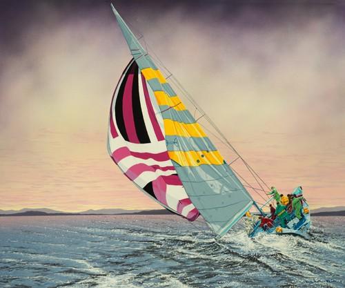 Karl Black, Morning Star (Wunschgröße, Fotografie, Meeresbrise, Segelboot, Meer, Perspektive, Aufsicht, Himmel, Wolken, bedrohlich, Wind, Segel, Morgenbrise, Treppenhaus, bunt)