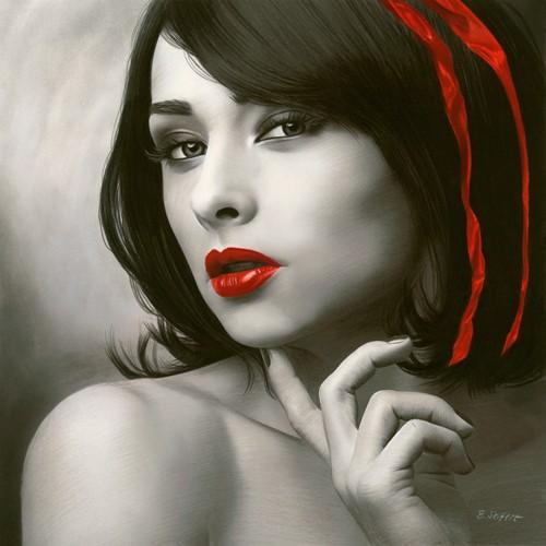 Brita Seifert, Strawberry Red (Portrait, Frauengesicht, rote Lippen, geschminkt, Colourspot, Erotik, betörend,  Verführung, Zeichnung, Fotorealismus, Schlafzimmer, Wohnzimmer, Wunschgröße, schwarz/weiß/rot)