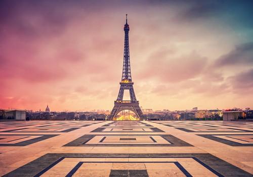 Matthias Haker, Awakening Paris (Eiffelturm, Wahrzeichen, Paris, Metropole, Sonnenaufgang, Fotokunst, Wunschgröße, Modern, Wohnzimmer, Treppenhaus, Büro, bunt)