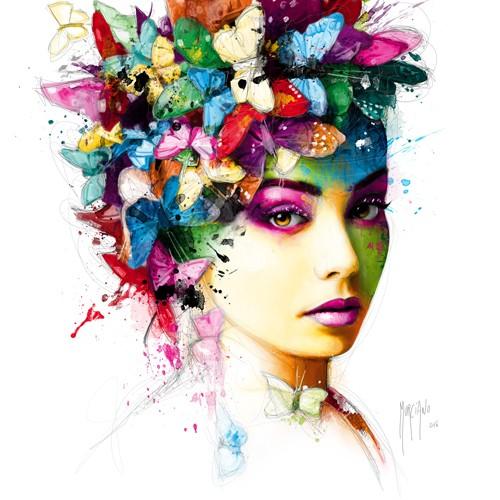 Patrice Murciano, L'Effet Papillon (Punk, Schmetterlinge, flower power, Frisur, Kopfbedeckung, Portrait, Mädchen, Profil, Pop Art, Leuchtfarben, Neon, Schrill, Modern, Malerei, Jugendzimmer, Wohnzimmer, Wunschgröße, bunt)