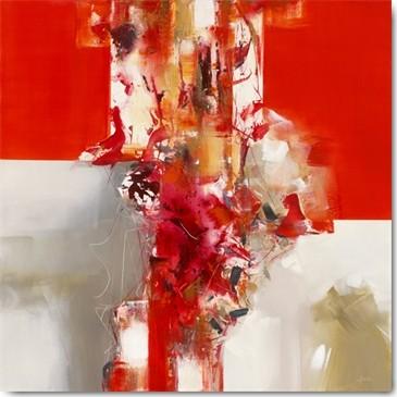 Véronique Ball, Jazz IV (Modern, Abstrakte Malerei, abstraktre Muster, Farbfelder, Farbstrukturen, Business, Büro, Wohnzimmer, Arztpraxis, Wunschgröße, Malerei, rot/weiß)
