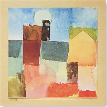 Paul Klee, Mondaufgang von St.Germain (Konstruktivismus,  geometrische Formen, Häuser, Mond, Stadt, Farbflächen, Klassische Moderne,  Wohnzimmer, Arztpraxis, Büro, Business, Wunschgröße, Malerei, bunt)