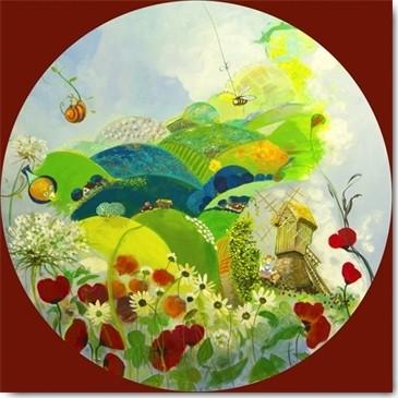 Geneviève Naudin, Que la campagne est ronde ! (Landschaft, Windmühle, Blumen, lustig, naiv, niedlich,  Rotondo, Rundbild, Kinderzimmer, Treppenhaus, Wunschgröße, Malerei, bunt)