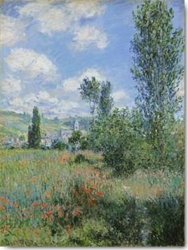 Claude Monet, Ile Saint-Martin (Wunschgröße, Impressionismus, Malerei, Blumenfeld, Bäume, Pappeln, Horizont, Dorf, Blüten, Idylle, Frankreich, Schlafzimmer, Wohnzimmer, Wintergarten, bunt, Klassiker)