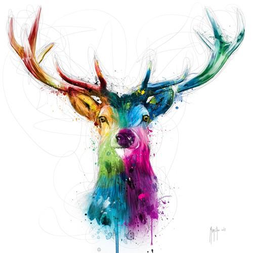 Patrice Murciano, Free and Wild (Pop Art, Hirsch, Geweih, Tier, Tierportrait,  Leuchtfarben, Neon, Schrill, Modern, Malerei, Jugendzimmer, Wohnzimmer, Jugendzentrum, Wunschgröße, bunt)