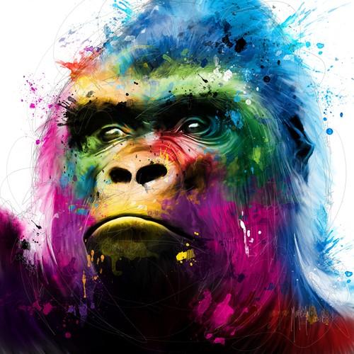 Patrice Murciano, Gorilla (Pop Art, Affe, Tier, Tierportrait, nachdenklich, Leuchtfarben, Neon, Schrill, Modern, Malerei, Jugendzimmer, Wohnzimmer, Jugendzentrum, Wunschgröße, bunt)