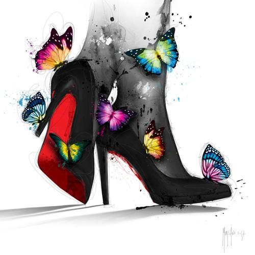 Patrice Murciano, Pour Elle (Schuhe, Pumps, Schmetterlinge, Leuchtfarben, Neon, Schrill, Modern, Malerei, Jugendzimmer, Wohnzimmer, Jugendzentrum, Wunschgröße, bunt)