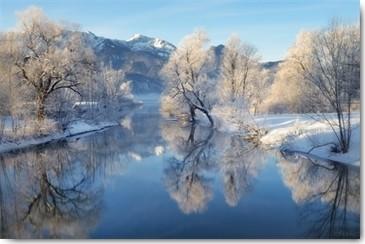 Uwe Steger, Winterland (Bäume, Fluss, Sonnenlicht, Spiegelungen, Raureif,  Äste, Schnee, Winter, Natur, Einsamkeit, Stille, Diffus, Dunst, Nebel, Fotokunst, Wohnzimmer,  Treppenhaus, Wunschgröße, bunt)