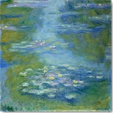 Claude Monet, Nympheas (Impressionismus, Malerei, Seerosen, Wasserlilien, Wasserpflanzen, Teich, Natur,  Schlafzimmer, Wohnzimmer, Wintergarten, Treppenhaus, blau, Klassiker)