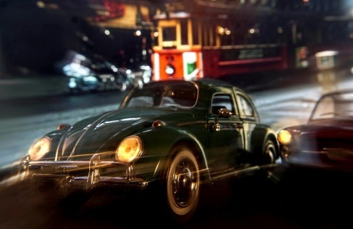 Cars in action - VW Beetle, Jean-Loup Debionne (Autos, VW-Käfer, Oldtimer, Straßenszene, Nachtszene, Lichteffekte, Geschwindigkeit, Fotokunst, Wunschgröße, Wohnzimmer, Treppenhaus, bunt)
