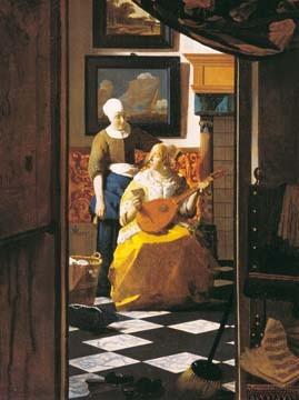 Johannes Vermeer, Der Liebesbrief (Wunschgröße, Malerei, Klassiker, Interieur, Lautenspielerin, Liebesbrief,  Genremalerei, Barock, Niederlande, goldenes Zeitalter, Wohnzimmer, bunt)