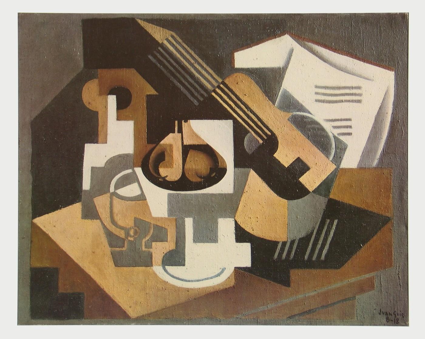 juan gris gitarre und fruchtschale auf einem 1918. Black Bedroom Furniture Sets. Home Design Ideas