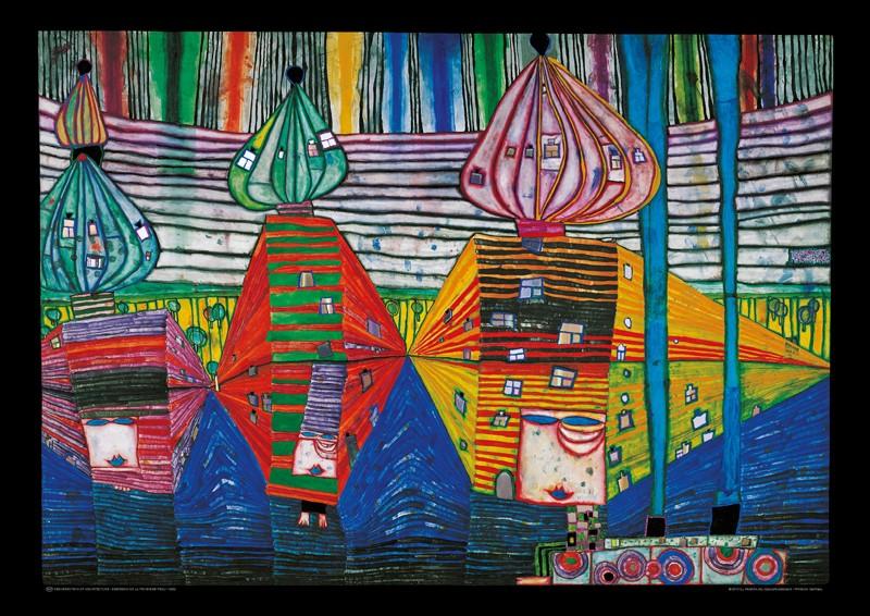 Friedensreich Hundertwasser, RESURRECTION OF ARCHITECTURE (Malerei, Klassische Moderne, Abstrakt, Pflanze, Blumen, Blumentopf, geometrische Muster, abstrakte Formen, Wohnzimmer, Arztpraxis, bunt)