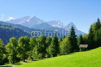 LianeM, Zugspitze 03 (zugspitze, bavaria, deutschland, alm, hütte, wiese, alpen, berg, berg, grün, wiese, haus, holz, holzhaus, kajüte, europa, himmel, bauernhof, gra)