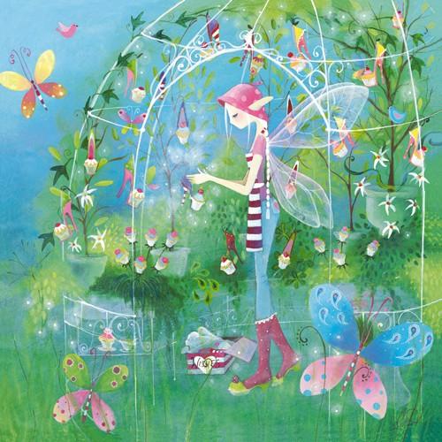 Lorrie McFaul, The Fairy Garden (Wunschgröße, Elfen, Feen, Ringelsocken, High Heels, Elfenschuhe, Schuhgeschäft, fantastisch, Märchen, Jugendzimmer, Grafik, bunt)