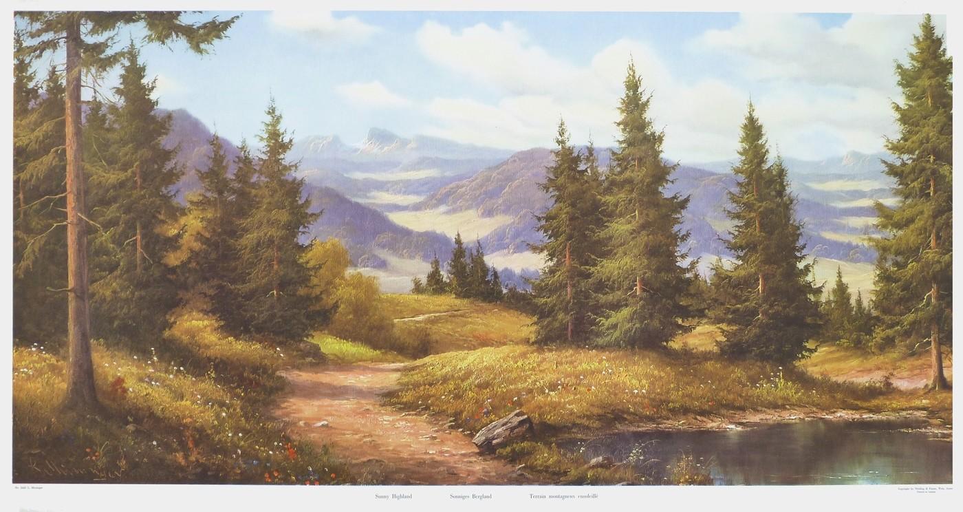 wandbild ludwig muninger sonniges bergland. Black Bedroom Furniture Sets. Home Design Ideas