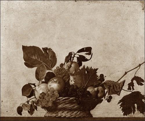 Michelangelo Caravaggio, Corbeille (Stillleben, Obstkorb, Früchte,  Weintrauben, Esszimmer, Küche, Bistro, beige/grau)