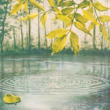 Marianne Augé, Lumière du matin II (Teich, See, Bäume, Idylle, Wasserkreise, Entspannung, Wellness,  Badezimmer, blau/grün)