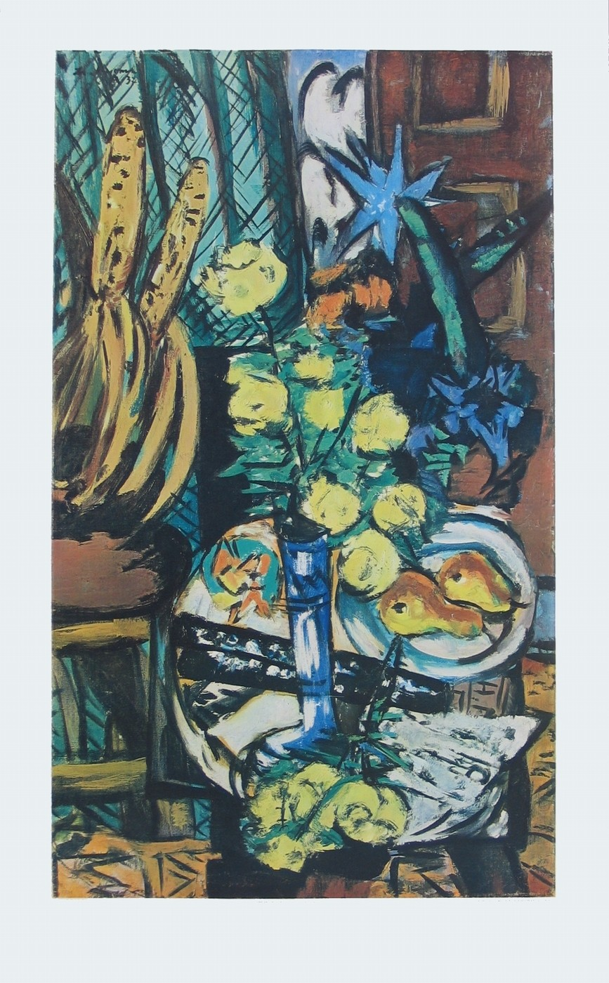 Max Beckmann, Gelbe Rosen (Klassische Moderne, Malerei, Expressionismus, Stillleben, Rosen, Vase, Blumenvase, Blumen, lebhaft, Wohnzimmer, bunt)