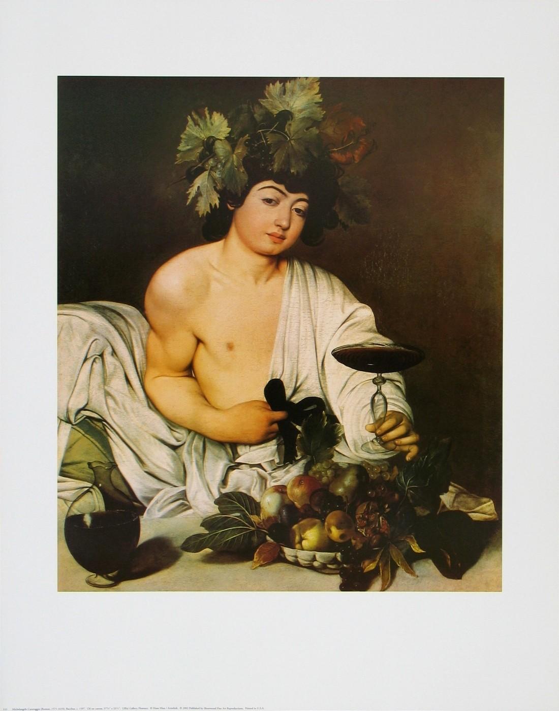 Michelangelo Caravaggio, Bacchus, ca. 1597 (Junge, Jüngling, Obstschale, Weinglas, Trauben, Früchte, Bacchus, Gott, Mythologie,  Klassiker, Barock, Esszimmer, Wohnzimmer, Weinlaub, Malerei, bunt)